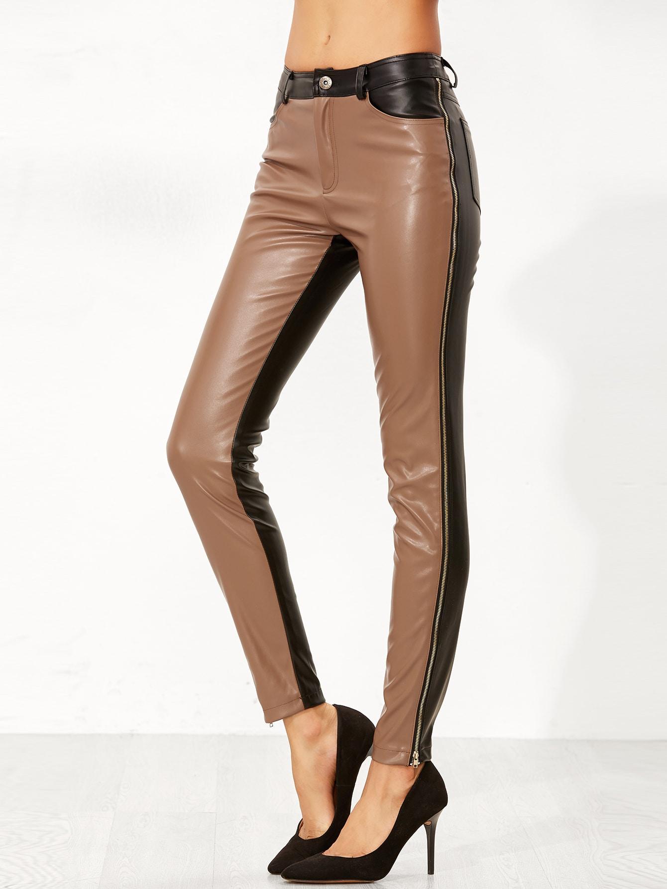 Contrast Faux Leather Side Zip Pants