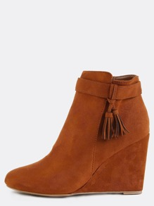 Suede Tassel Wedge Booties CHESTNUT