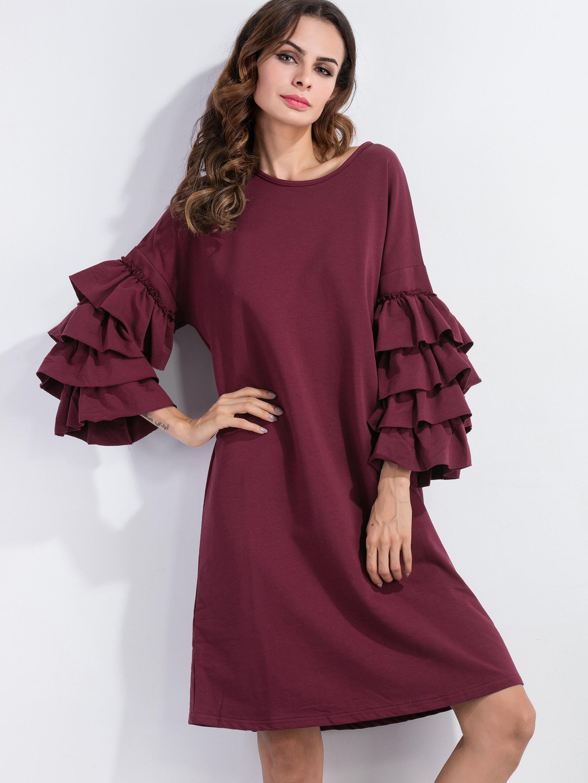 Фото Tiered Ruffle Sleeve Tunic Dress. Купить с доставкой