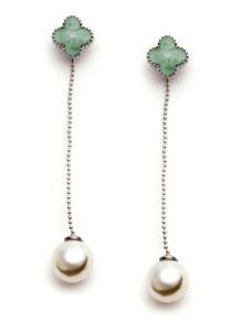 Green Four Leaf Clover Faux Pearl Drop Earrings