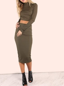 Ribbed Midi Bodycon Skirt OLIVE