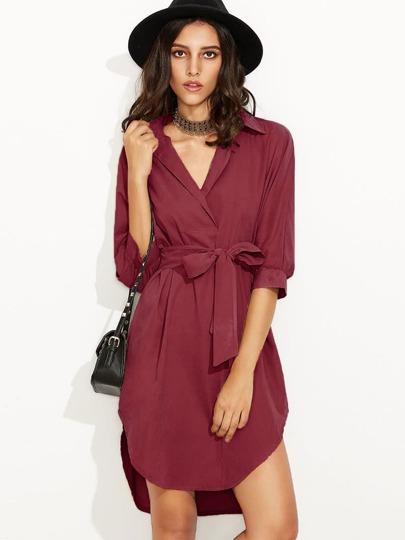 Burgundy Self Tie High Low Curved Hem Shirt Dress