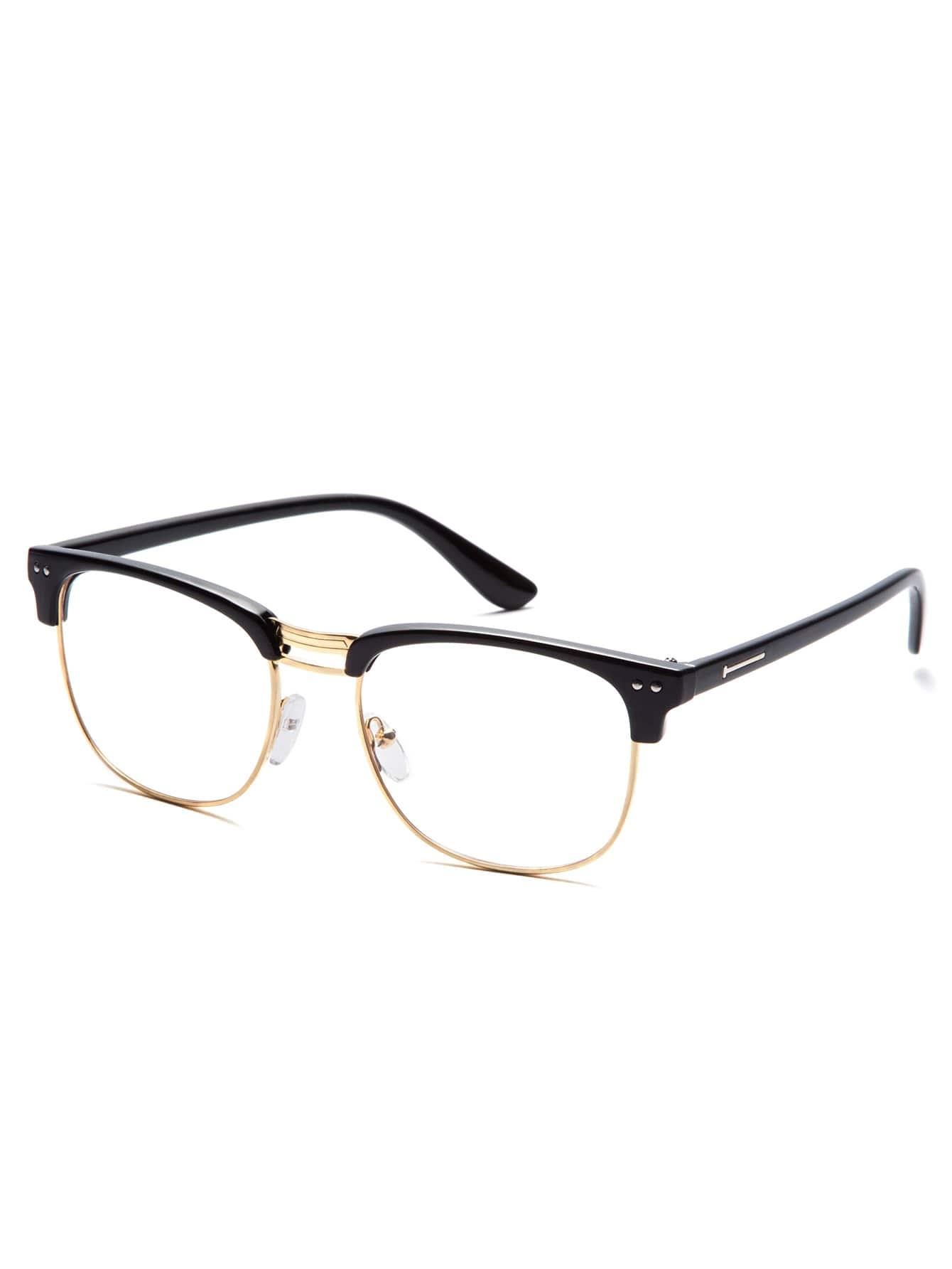Black Open Frame Gold Trim Glasses sunglass160912310