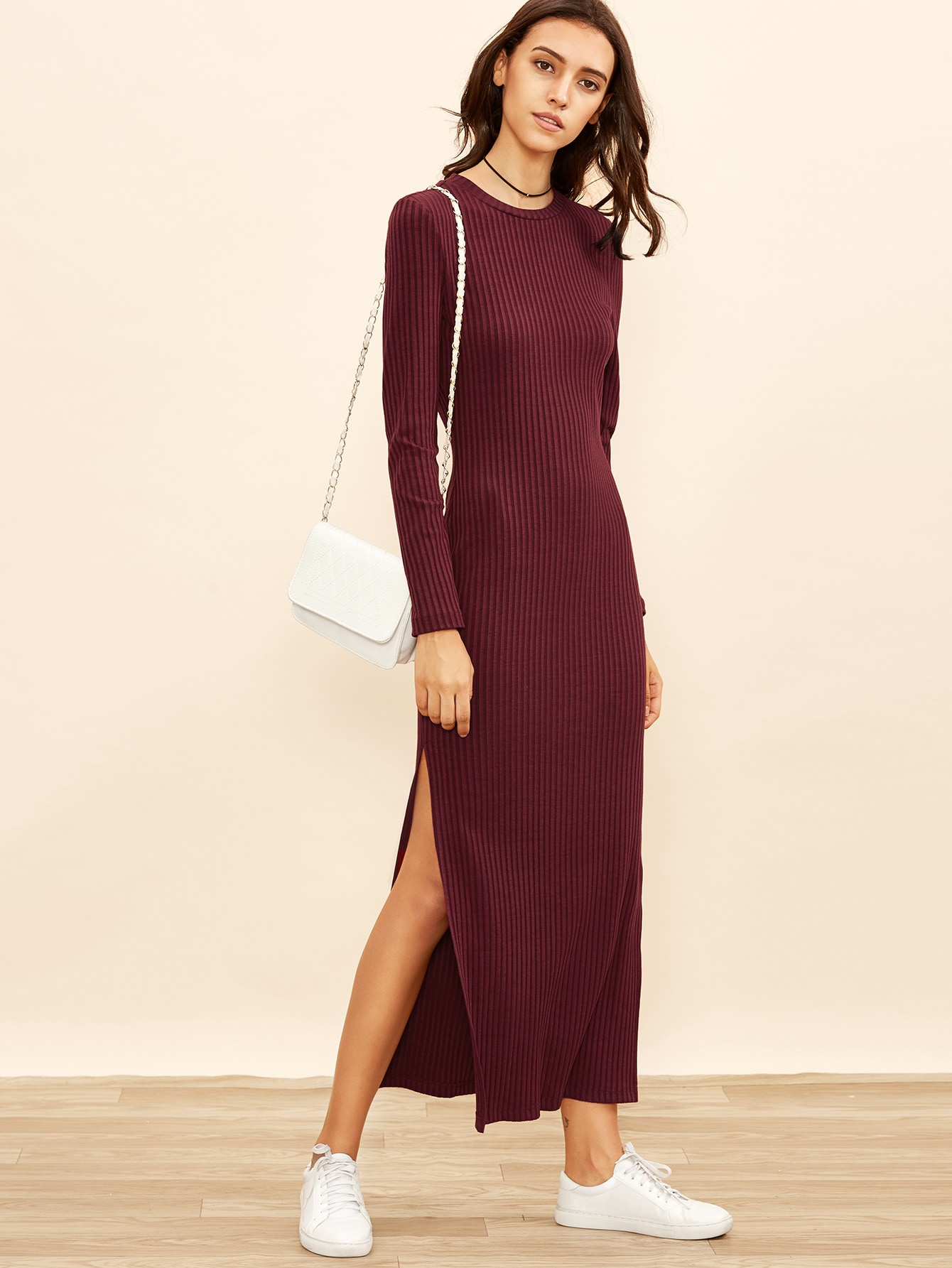 Burgundy Long Sleeve High Slit Ribbed Dress dress160913706