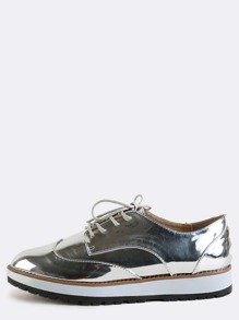 Contrast Sole Metallic Oxfords SILVER