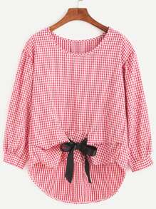 Gingham Plaid Bow Tie High Low Blouse