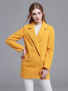 Yellow Notch Lapel Double Button Coat