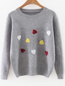 Grey Cartoon Hat Print Round Neck Sweater