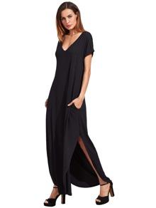 Rolled Cuff Curved Hem Dress