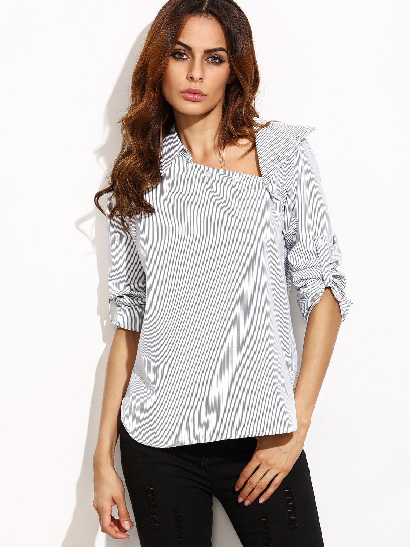 Striped Asymmetric Buttoned Neck Blouse striped asymmetric buttoned neck blouse