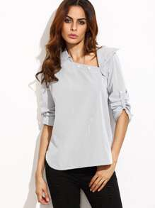 White Striped Asymmetric Buttoned Neck Blouse