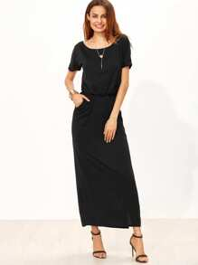 Elastic Waist Split Side Pocket Dress