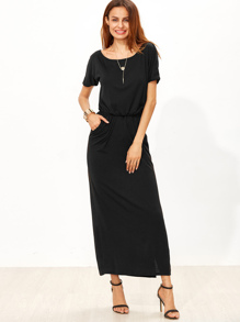Black Elastic Waist Split Side Pocket Dress