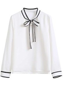White Striped Collar And Cuff Blouse