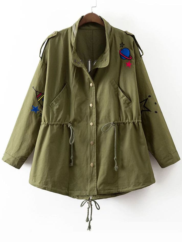 Army Green Letter Embroidery Drawstring Coat With PocketsArmy Green Letter Embroidery Drawstring Coat With Pockets<br><br>color: Green<br>size: one-size