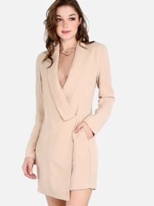 Wrap Over Blazer Dress TAUPE