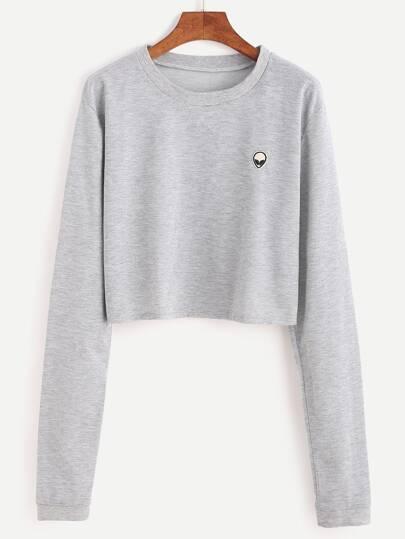 Grey Alien Embroidered Patch Crop Sweatshirt