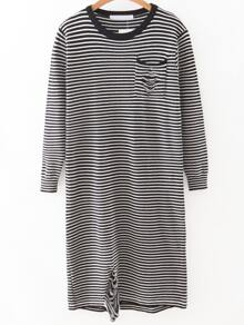 Black Striped Ripped Detail Knit Dress With Pocket