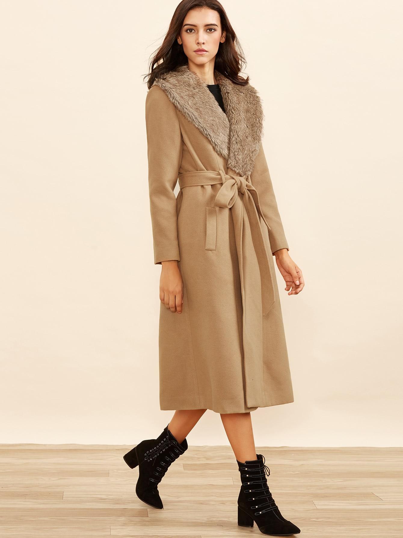 Camel Faux Fur Collar Wrap Coat