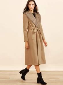 Abrigo con piel sintética - camello