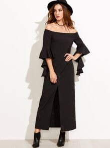 Black Ruffle Sleeve Slit Front Off The Shoulder Dress
