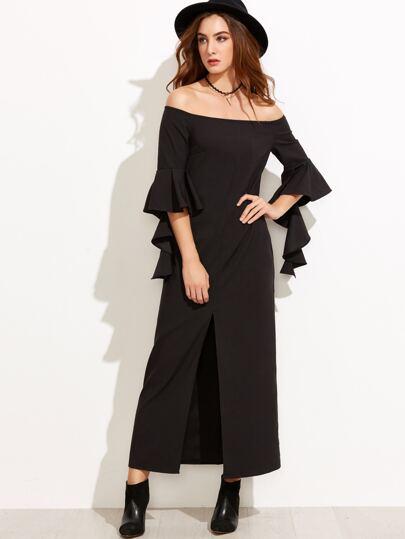Black Ruffle Sleeve Slit Front Off The Shoulder Dress