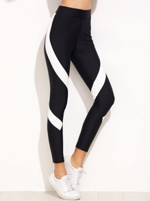 Contrast Panel High Waist Leggings