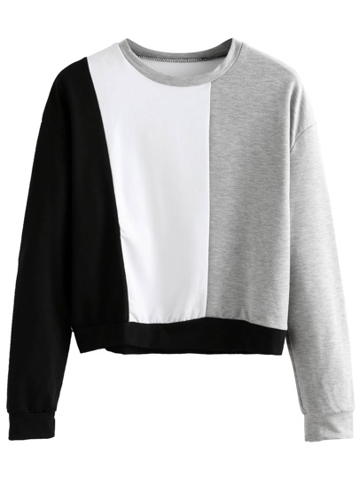 Color Block Crop Sweatshirt