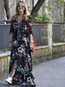 Deep V Neck Florals Drawstring Button Front Dress
