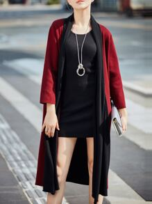 Burgundy Color Block Pockets Cardigan