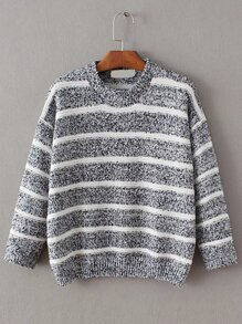 Blue Contrast Striped Crew Neck Sweater
