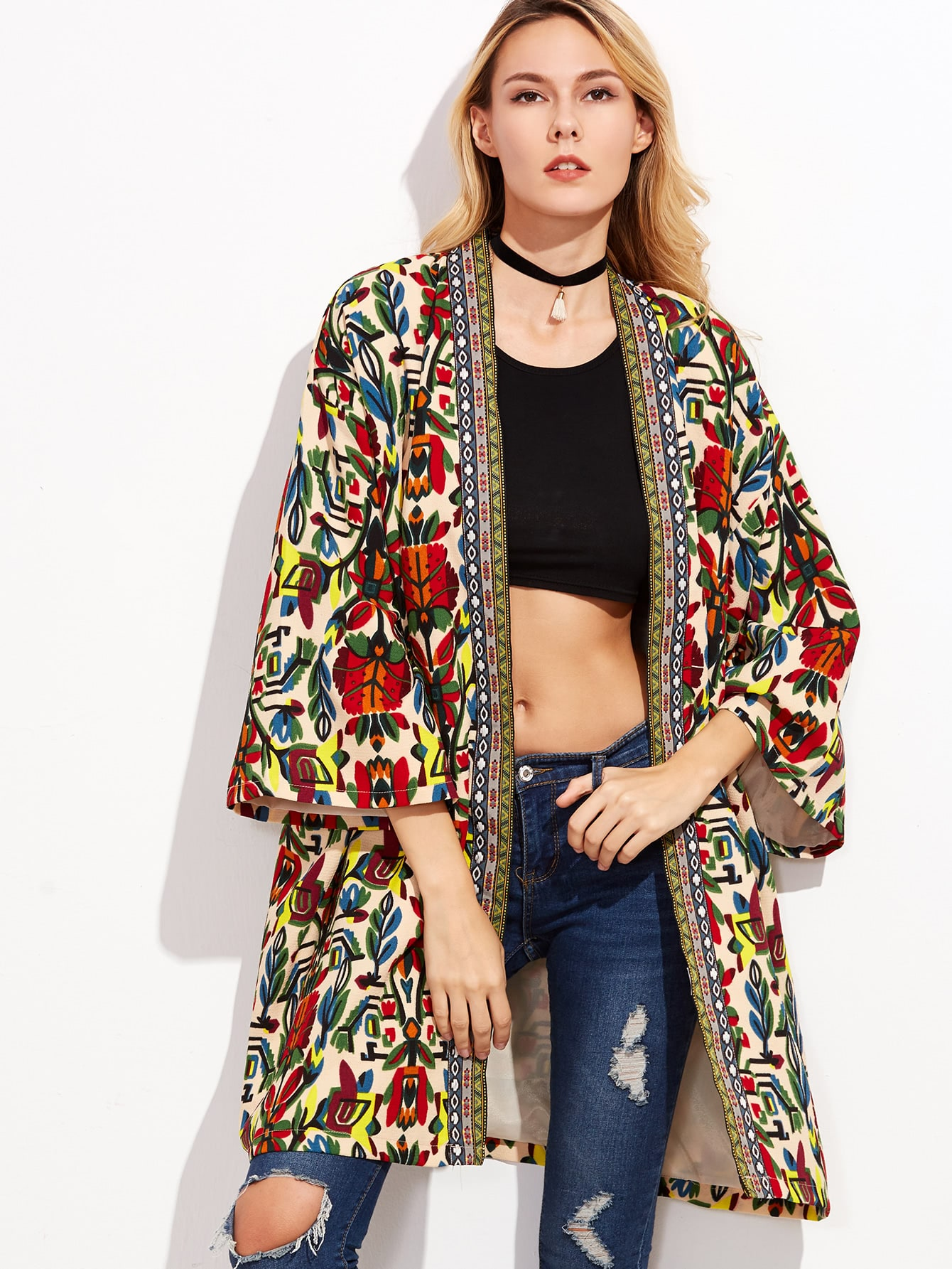 Colorful Open Front Outerwear With Tribal Print Tape Detail obi tie outerwear with epaulet detail