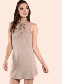 Faux Suede Choker Neck Tie Cami Dress CAMEL