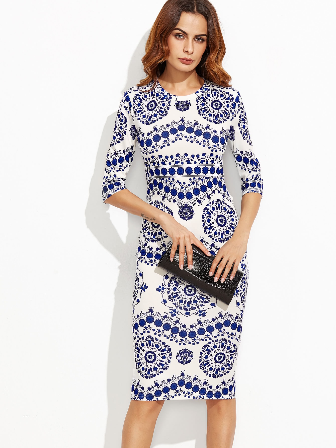 Porcelain Print Pencil Dress Shein Sheinside