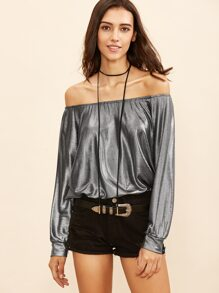 Metallic Grey Off The Shoulder Sweatshirt