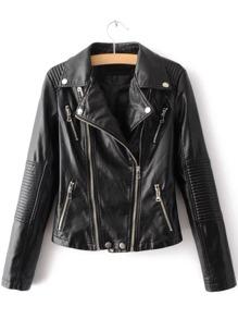 Black Lapel Zipper Embellished PU Jacket