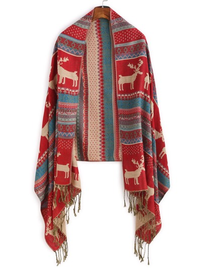 Red Tribal Print Long Tassel Scarf