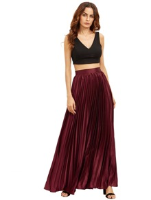 Zipper Side Pleated Flare Full Length Skirt