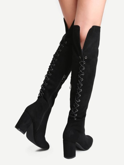 Black Point Toe Tie Back Knee Boots
