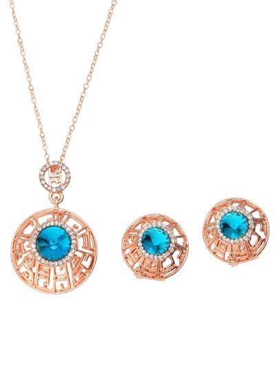 Parure de bijoux forme ronde avec strass - rose doré
