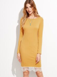 Mustard Lace Trim Long Sleeve Sheath Dress