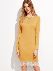 Mustard Lace Trim Long Sleeve Sheath Dress