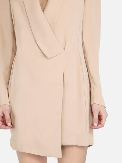 Wrap Over Blazer Dress TAUPE -SheIn(Sheinside)