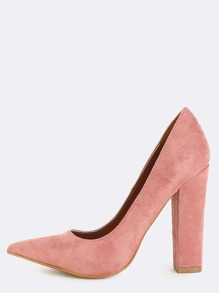 Faux Suede Pointed Toe Pumps BLUSH