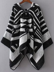 Black And White Color Block Hooded Poncho Sweater