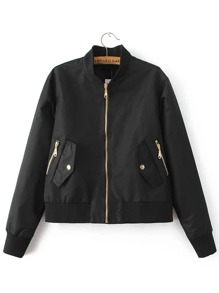 Black Zipper Up Flight Jacket With Pockets