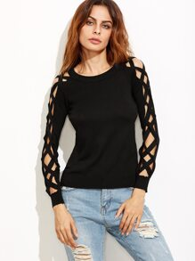 Black Lattice Sleeve Hollow Out Sweater
