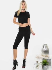 Black Short Sleeve T-shirt With Casual Pants