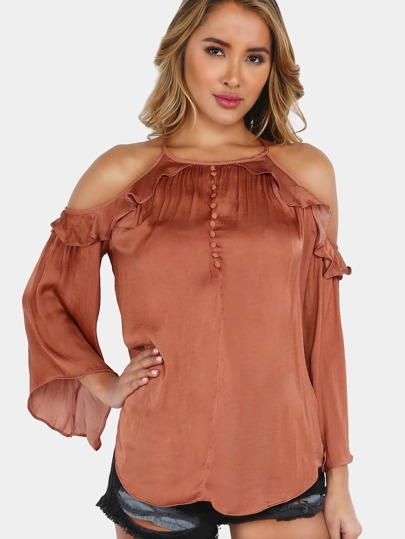 Ruffled Cold Shoulder Bell Sleeve Tunic LIGHT AMBER