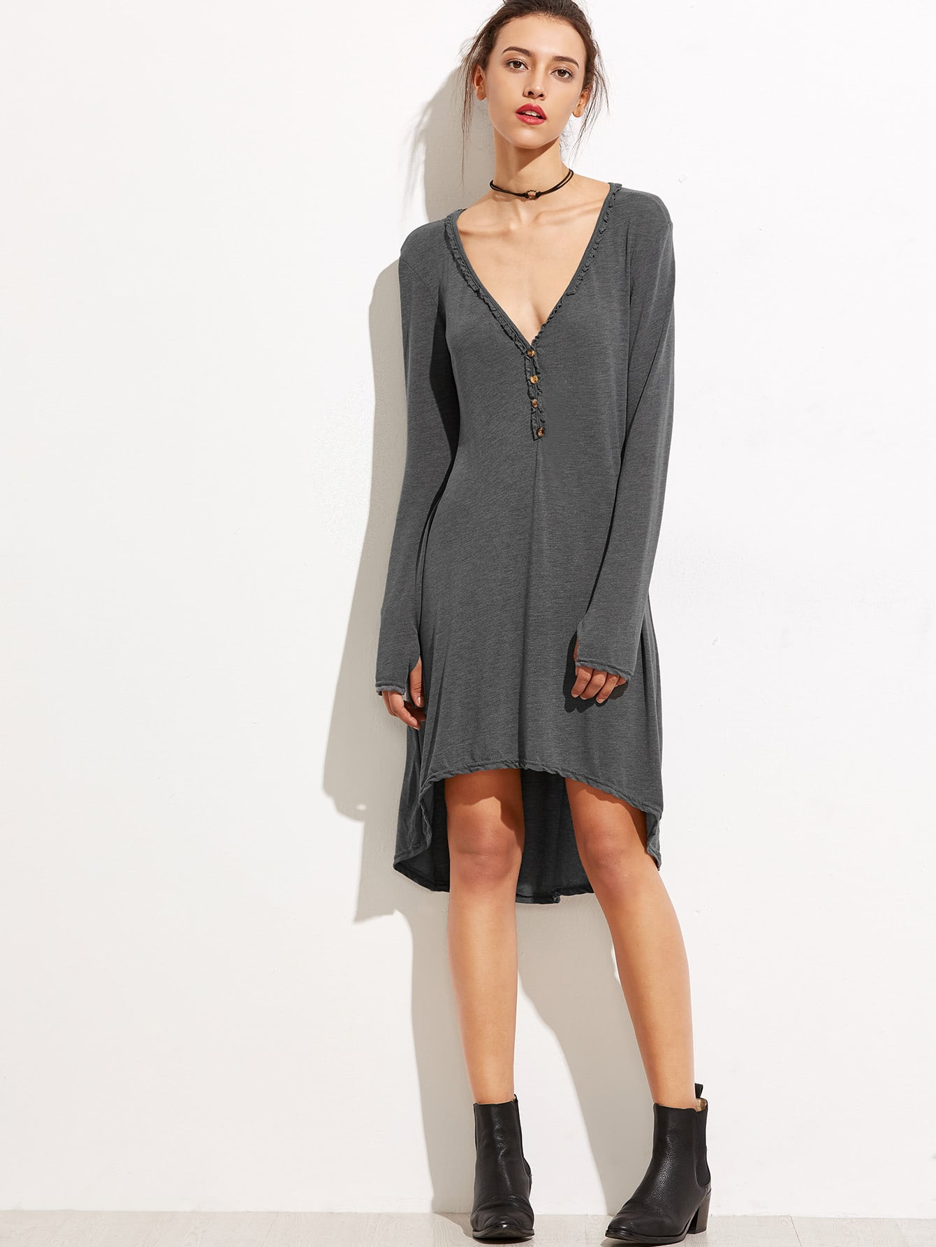 Grey Deep V Neck Dip Hem Button Front DressGrey Deep V Neck Dip Hem Button Front Dress<br><br>color: Grey<br>size: L,S,XL